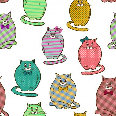Seamless pattern of funny fat cats