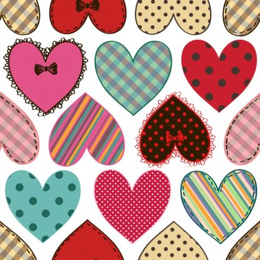 Seamless pattern of scrapbook colorful fabric hearts clip art vector