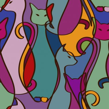 Seamless pattern of colorful African cats