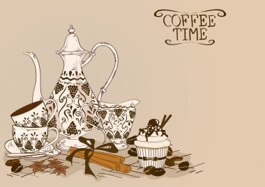 Illustration with vintage coffee service