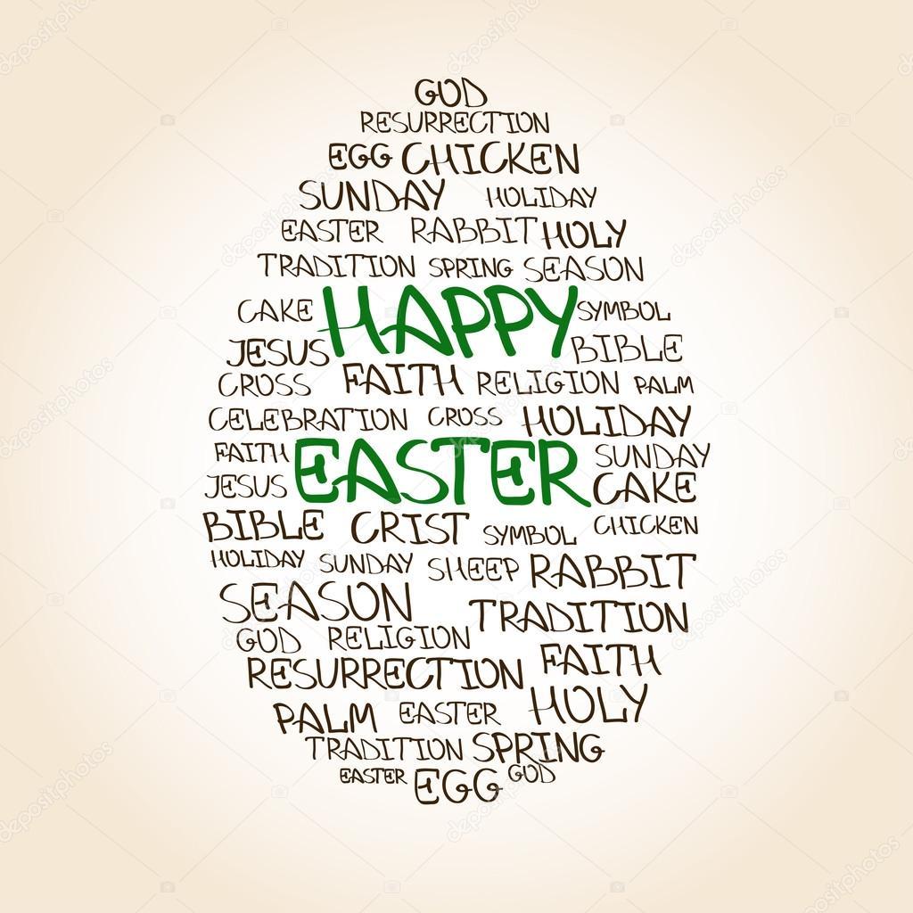 Easter Egg Made From Handwritten Words Stock Vector Annykos