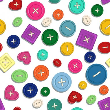 Seamless pattern of sewing buttons