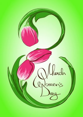 Greeting card with International Women's day 8 March