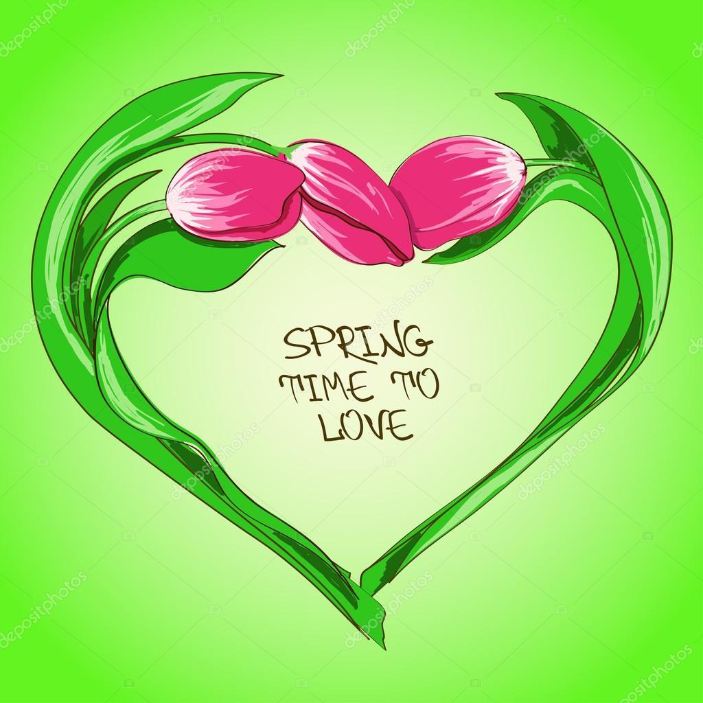 Flores Forma De Corazon Ilustración Con Flores De Tulipán En Forma