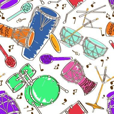 Seamless pattern of drum set