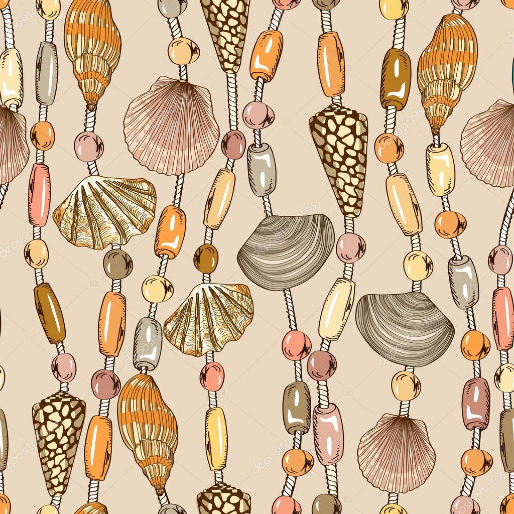 Seamless pattern of seashell jewelry