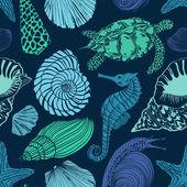Fotografie nahtlose Muster von Meerestieren