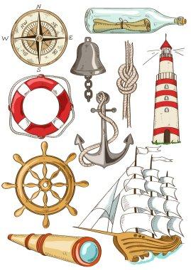 Set of isolated nautical icons