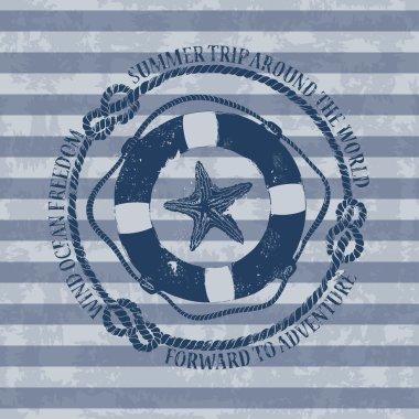 Nautical emblem with lifebuoy and starfish