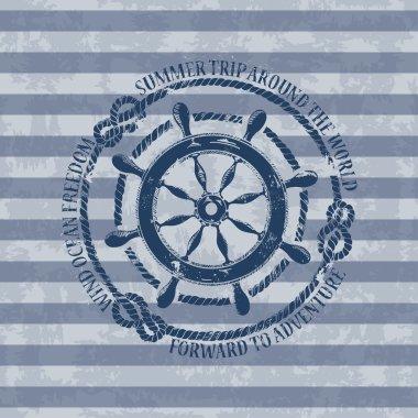 Nautical emblem with sea wheel
