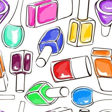 Seamless pattern of nail polish bottles