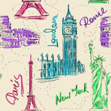 Seamless pattern of architectural landmarks
