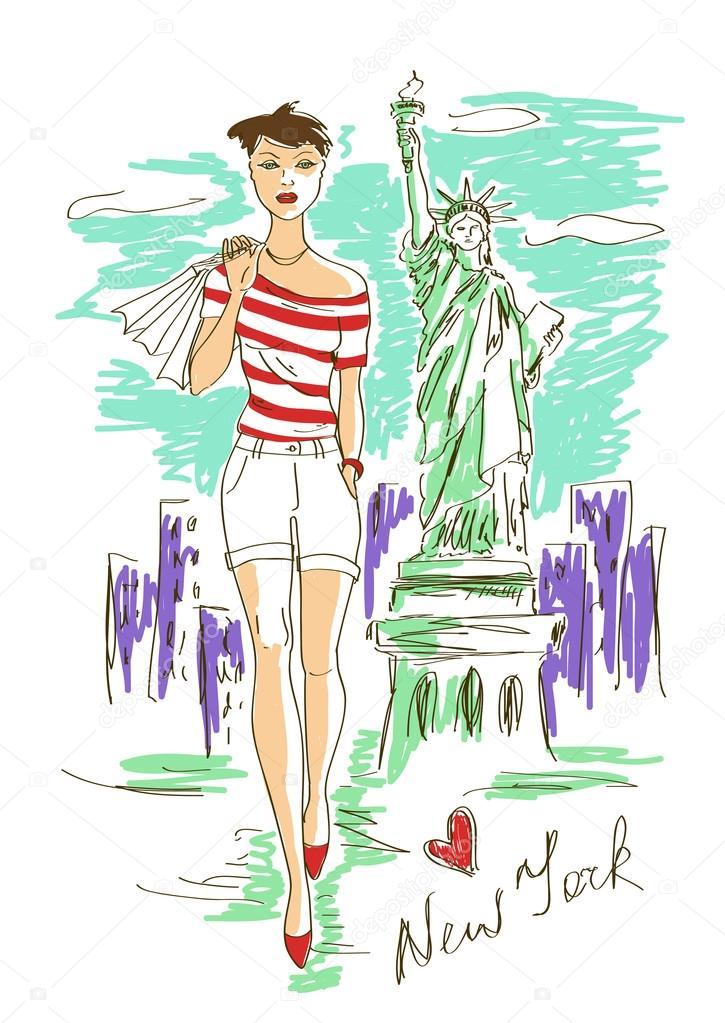 chica de moda en Nueva york — Vector de stock © Annykos #47577823