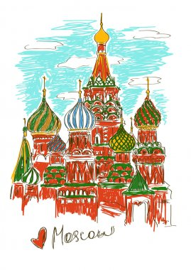 Illustration of St Basil's Cathedral in Moscow