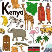 Photo Sketch Kenya seamless pattern
