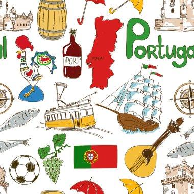 Sketch Portugal seamless pattern