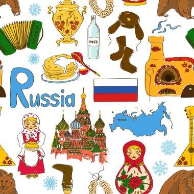 Sketch Russian seamless pattern