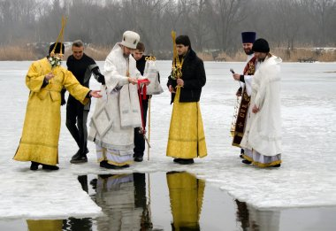 Religious Christian feast of the Epiphany. Priest, the bishop blesses the water and people
