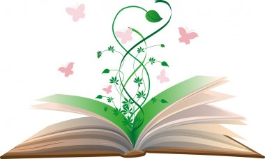 Flower grows out of the book.