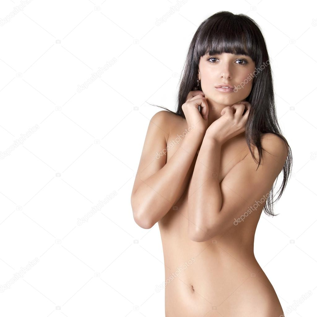 naked brunette girl with long hair — stock photo © sekundator #35133695