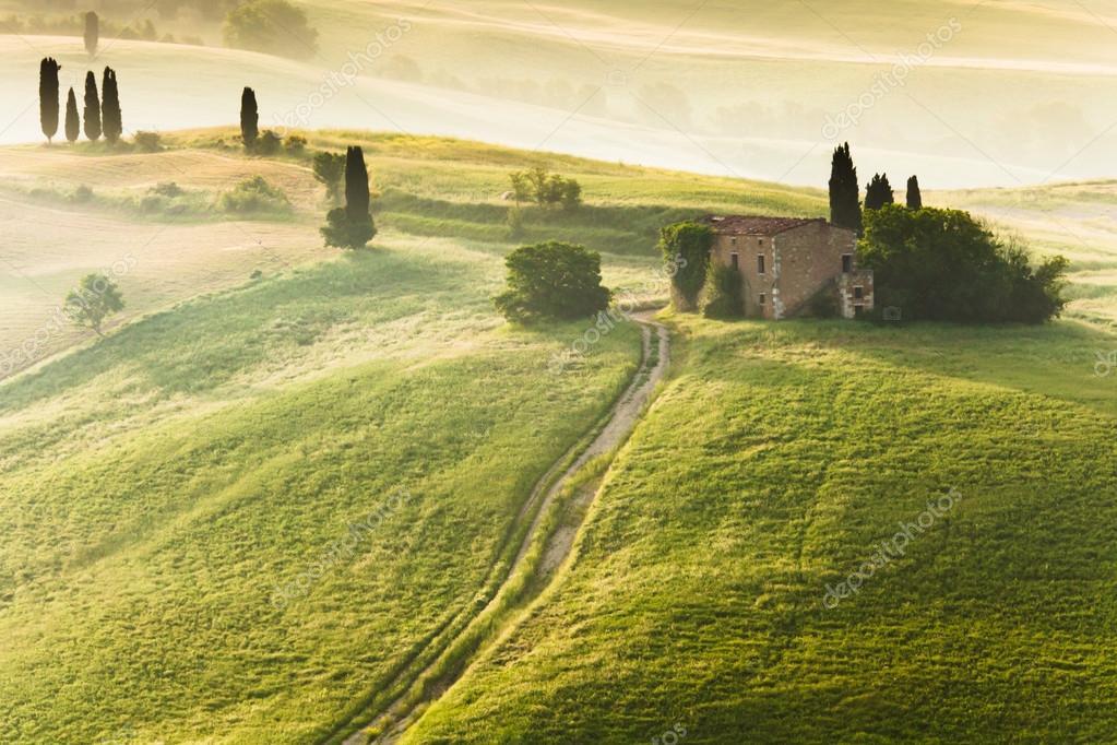Early morning on countryside, Tuscany, Italy