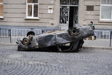 Burnt out the car in city
