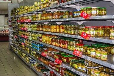 Preserved vegetables the shelf in supermarket