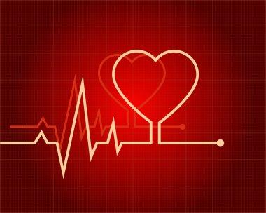 ECG heart-shaped on grid stock vector