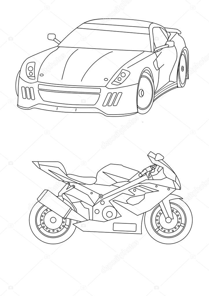 páginas para colorear para coches de niños — Fotos de Stock ...