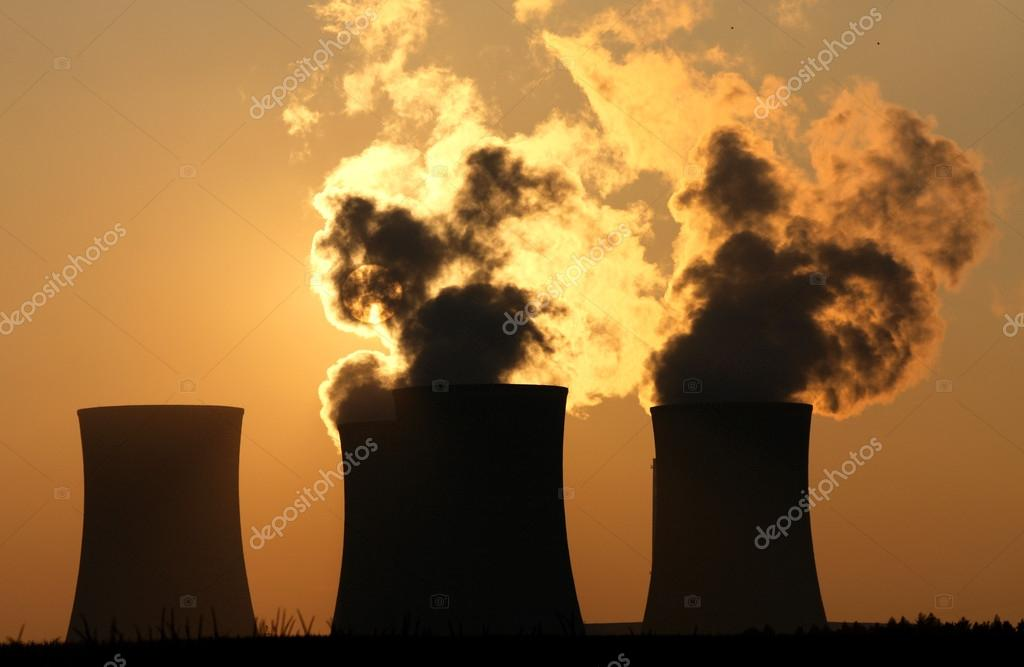 Cooling towers of nuclear power plant during sunset