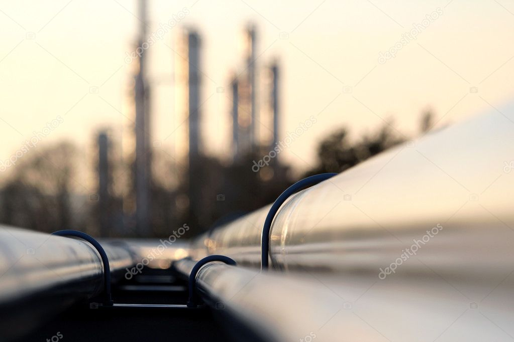 Pipe line conection in oil refinery stock vector