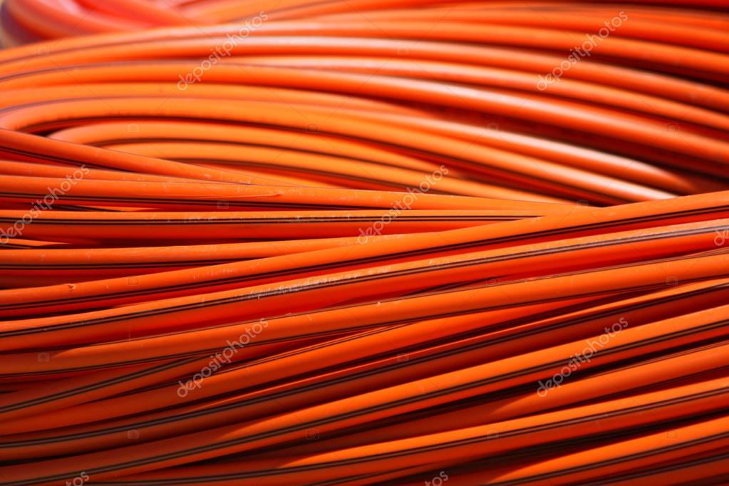 orange long cable on stock