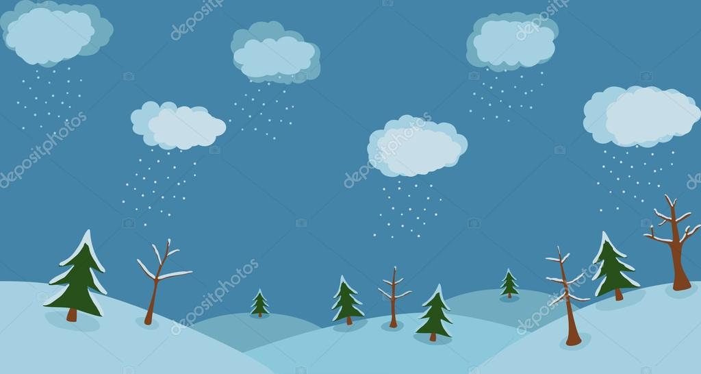 Winter background with clouds and snow trees