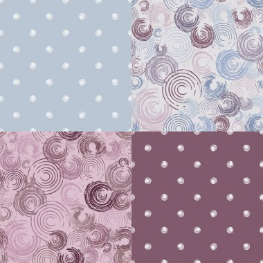 Set seamless patterns with circles - vector illustration