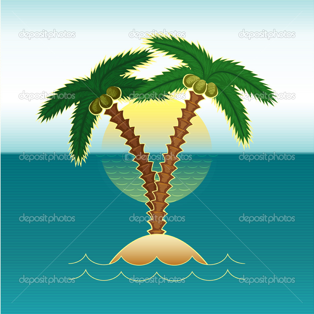 palm tree in the sea at sunset - vector illustration