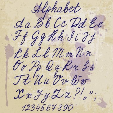 hand-written alphabet on old paper with blots - vector illustration