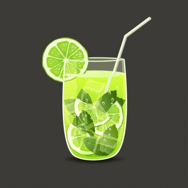 Drink in glass with straw - vector illustration stock vector