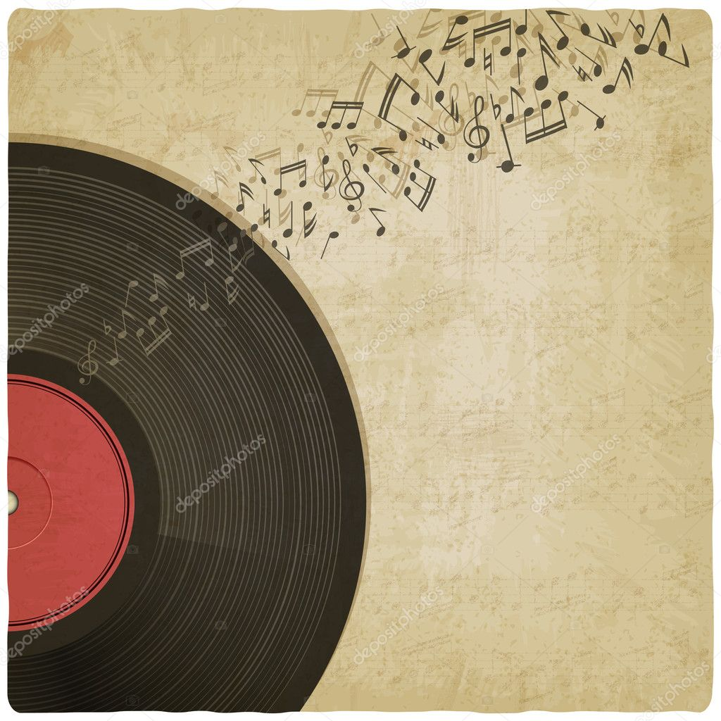 Vintage Background With Vinyl Record Stock Vector