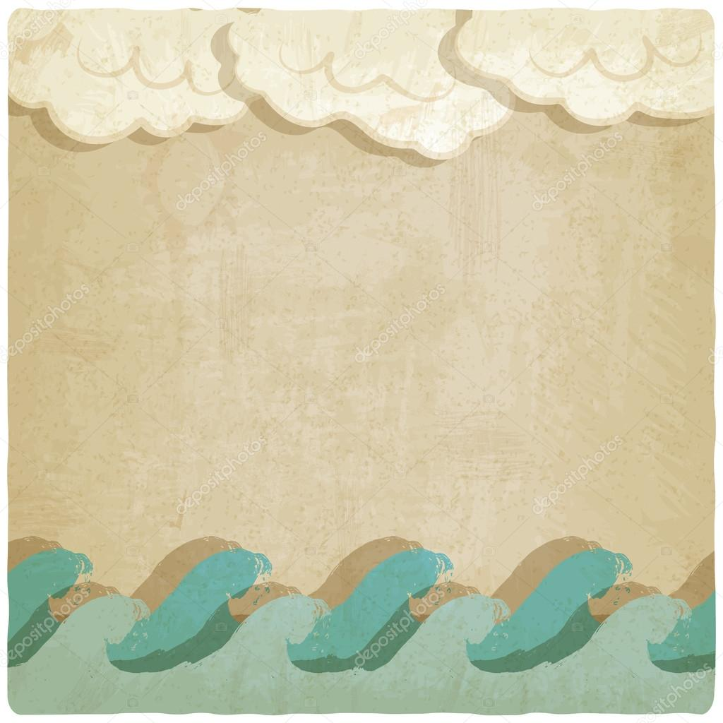 Vintage background with waves and clouds