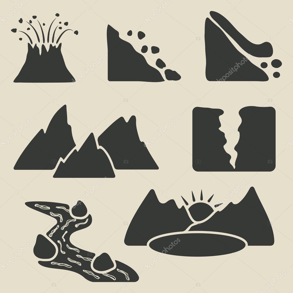 set of mountains icons
