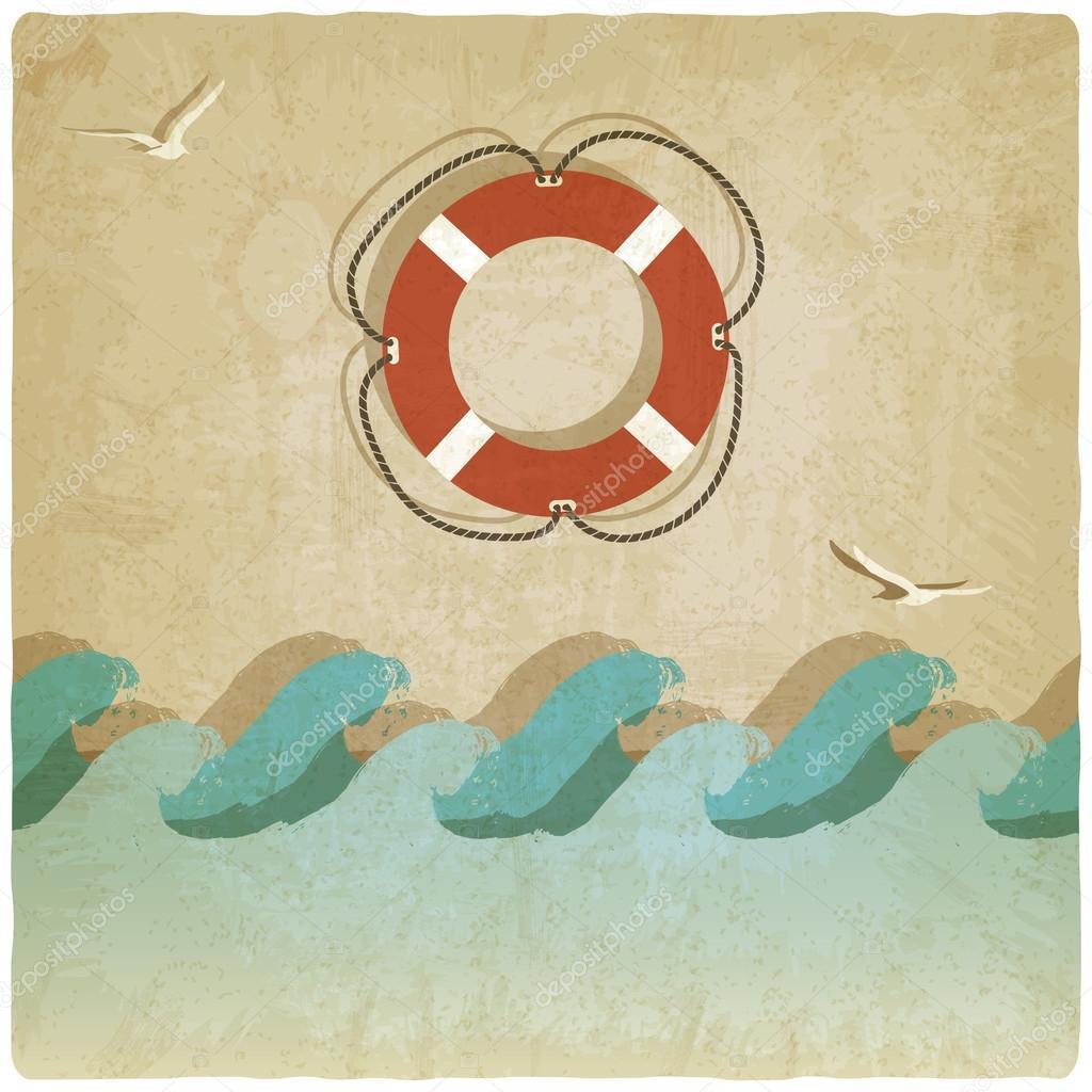 Vintage marine background with lifebuoy