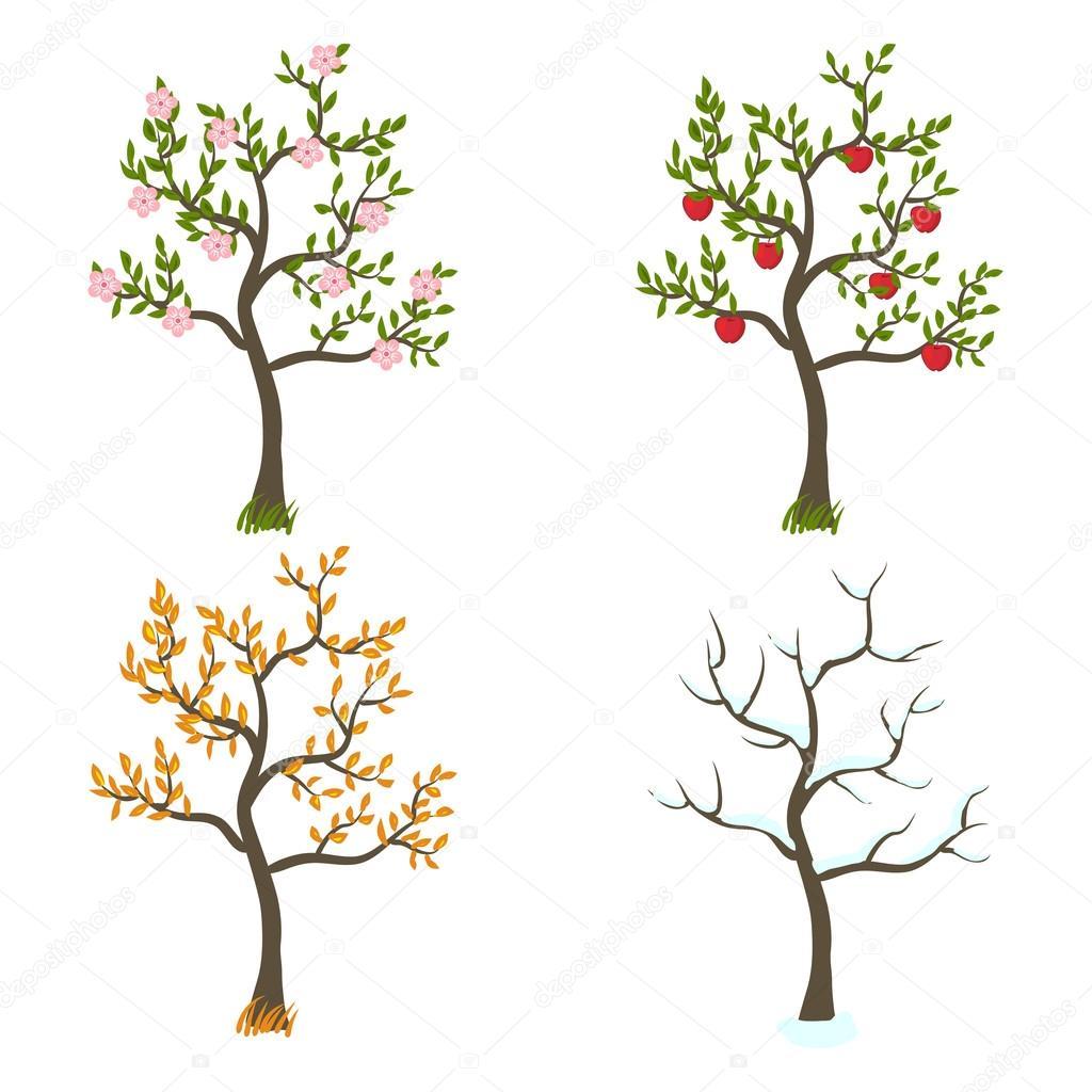 Four seasons trees art