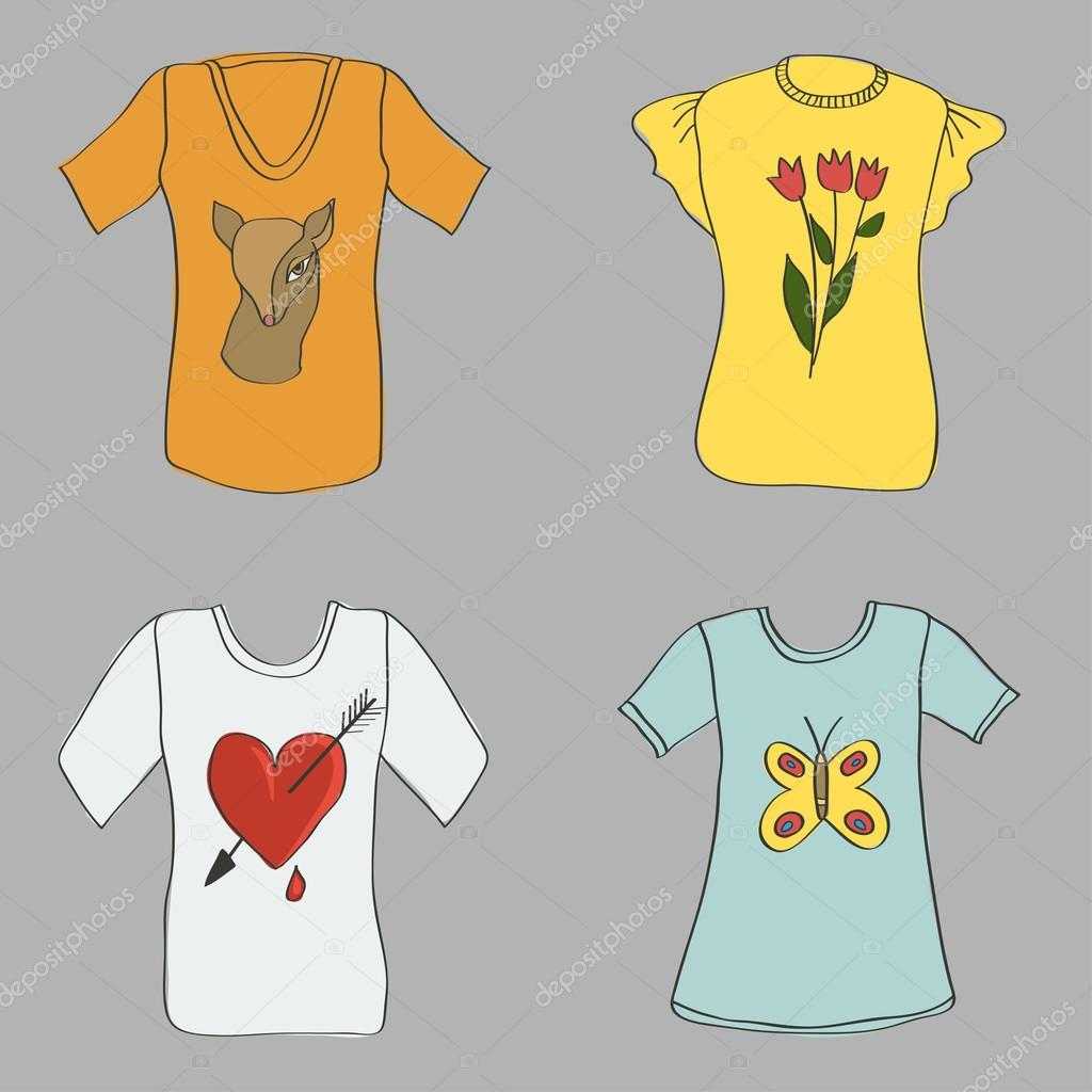 Hand drawing women T-shirts with print