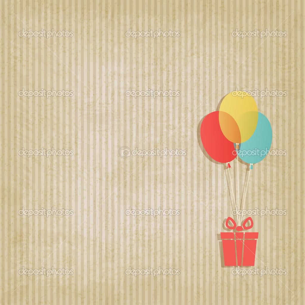 globos de regalo en color fondo rayas retro — Archivo Imágenes ...