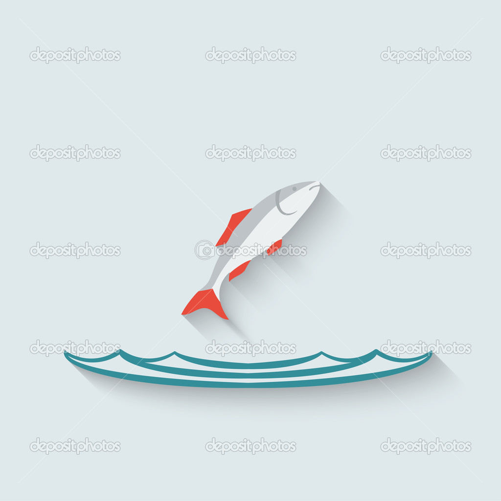 fish over water background