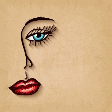 woman face blue eyes red lips on old background