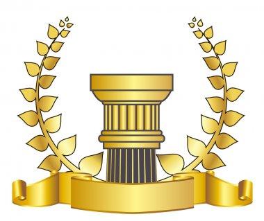 Old-style greece column and gold laurel wreathgold laurel wreath. eps10 vector illustration stock vector