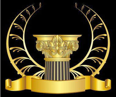 Old-style greece column and gold laurel wreathgold laurel wreath. eps10 vector illustration