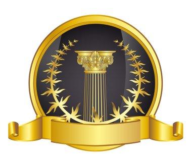 Old-style greece column and gold laurel wreathgold laurel wreath. eps10 vector illustration
