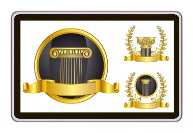 Realistic vector tablet pc computer with gold laurel wreath, ribbon and pillar elements